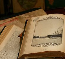 Santa Monica Pier Drawing in old Book by stine1