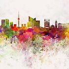 Vilnius skyline in watercolor background by paulrommer