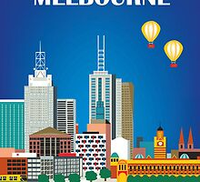 Melbourne, Australia Skyline - Vertical - Retro Travel Style Illustration by Loose Petals by Loose  Petals