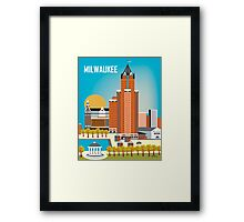 Milwaukee, Wisconsion - Vertical Retro Themed Skyline by Loose Petals Framed Print