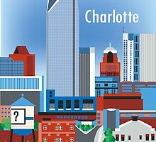 Charlotte, North Carolina - Vertical Retro Style Illustration by Loose Petals by Loose  Petals