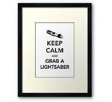 Keep Calm Lightsaber Framed Print