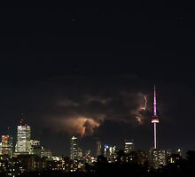 Lightning and storm clouds over Toronto by Keith Vander Wees