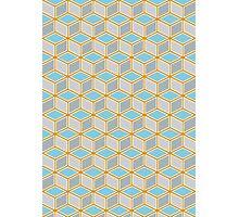 Tumbling Blocks, Orange/Blue Photographic Print