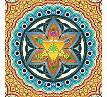 Merkaba, Chakras, Flower Of Life, Metatrons Cube, Sacred Geometry Photographic Print
