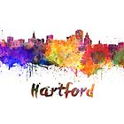 Hartford skyline in watercolor by paulrommer