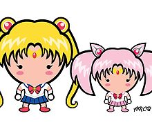 Sailor Moon and Mini Moon by Adriana Cruz Berdecia