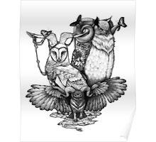 Goatowls (b&w) Poster