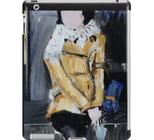 Contemporary Woman With Umbrella Tan Leather Jacket Acrylic Painting  iPad Case/Skin