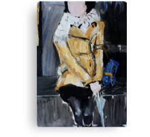 Contemporary Woman With Umbrella Tan Leather Jacket Acrylic Painting  Canvas Print