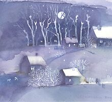 Winter village at night by Monika Malinowska
