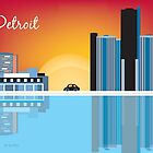 Detroit, Michigan - Horizontal - Retro Skyline Illustration by Loose Petals by Loose  Petals