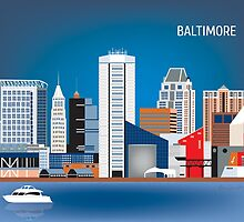 Baltimore, Maryland - Horizontal Retro Style Skyline Illustration from Loose Petals by Loose  Petals