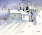 Village house covered in snow by Monika Malinowska