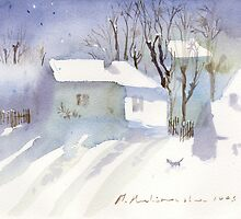 Village house covered in snow by Monika Malinowska