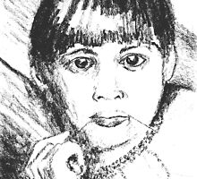 Pencil drawing of girl chewing string of beads by Cynthia Ward