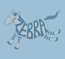 Leaping zebra t shirt (blue) by Leebling