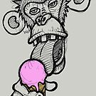 Monkey eating an ice cream by Brett Gilbert