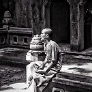 Monk. Troglodyte Temple. Marble Mountains Da Nang. Vietnam. by Ramona Farrelly