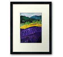 Lavender Fields Colorful Countryside Purple Flowers Acrylic Painting Framed Print