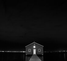 Crawley Edge Boat Shed at Night by Dave van der Wal