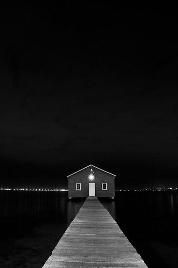Crawley Edge Boat Shed at Night by Dave van der Wal
