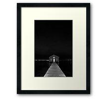 Crawley Edge Boat Shed at Night Framed Print