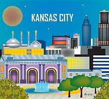 Kansas City, Missouri - Horizontal Retro Inspired Travel Art by Loose Petals by Loose  Petals