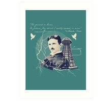 Nikola Tesla - with Quote  Art Print