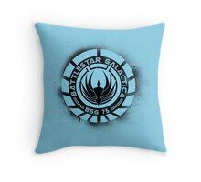 Battlestar Galactica Grunge - Blue line Throw Pillow