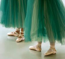 Three ballerinas in green tutus by Julia  Hiebaum