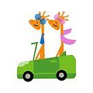 Giraffes and Car Throw Pillow, Tote Bag White by Vitta