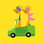 Giraffes and Car Throw Pillows, Tote Bag Yellow by Vitta