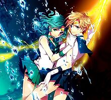 Sailor Uranus and Sailor Mercury Double Power by m0nkeysp7ce