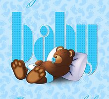 Sleeping Ted - Baby Blue (Greeting Card) by ifourdezign