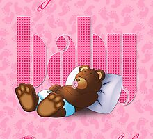 Sleeping Ted - Baby Pink (Greeting Card) by ifourdezign