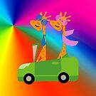 Giraffe and Car  Throw Pillows, Tote Bag Colours by Vitta