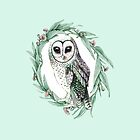 Sooty Owl Wreath on Mint by ThistleandFox
