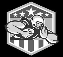 American Football Running Back Fend-Off Crest Grayscale by patrimonio