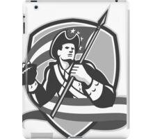 American Patriot Football Soldier Shield Grayscale iPad Case/Skin