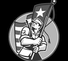 American Patriot Serviceman Soldier Flag Grayscale by patrimonio
