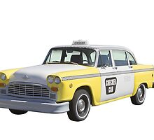 Yellow and White Checkered Taxi Cab by KWJphotoart
