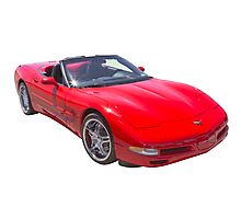 Red C5 Corvette convertible Muscle Car Photographic Print