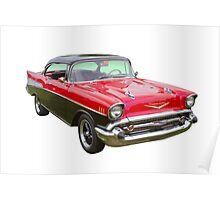 Red and Black 1957 Chevy Belair Poster