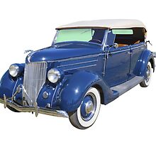 Blue 1936 Ford Phaeton Convertible Antique Car by KWJphotoart