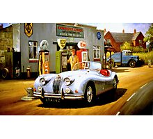 English sportscar at 1950s service station. Photographic Print