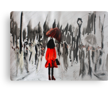 Girl In The Red Raincoat Urban Cityscape Contemporary Acrylic Painting Metal Print