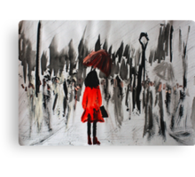 Girl In The Red Raincoat Urban Cityscape Contemporary Acrylic Painting Canvas Print