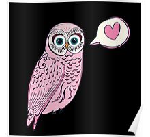 Pink Love Owl Poster
