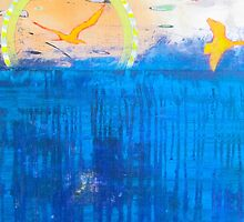 Free Bird abstract seascape contemporary painting by JodiFuchsArt